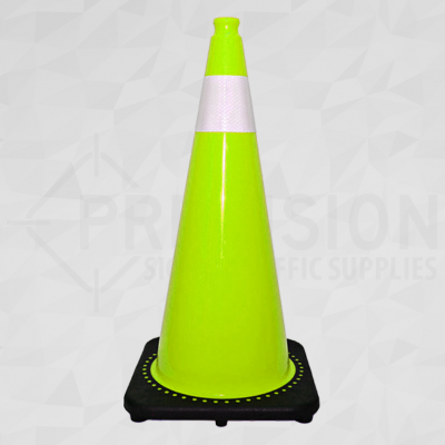 Lime Green 28in Traffic Cone with 4in Reflective Collar