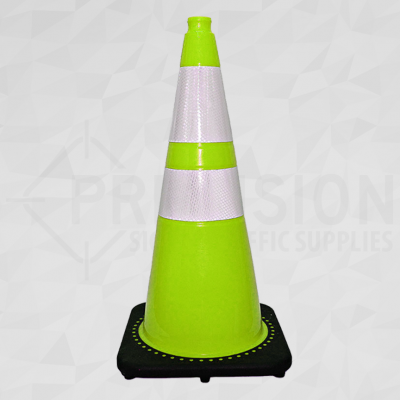 Lime Green 28in Traffic Cone with 6in and 4in Reflective Collar