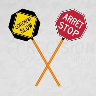 New Brunswick Traffic Control Paddle Bilingual French