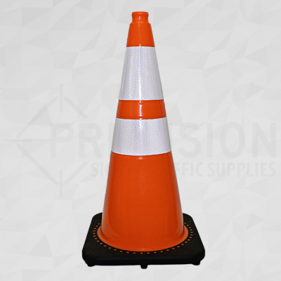 Orange 28in Traffic Cone with 6in and 4in Reflective Collar
