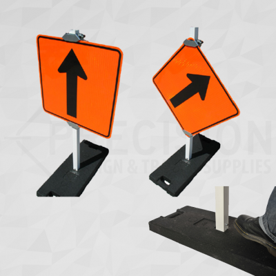 Rubber Base Sign Stand with Plastic Post